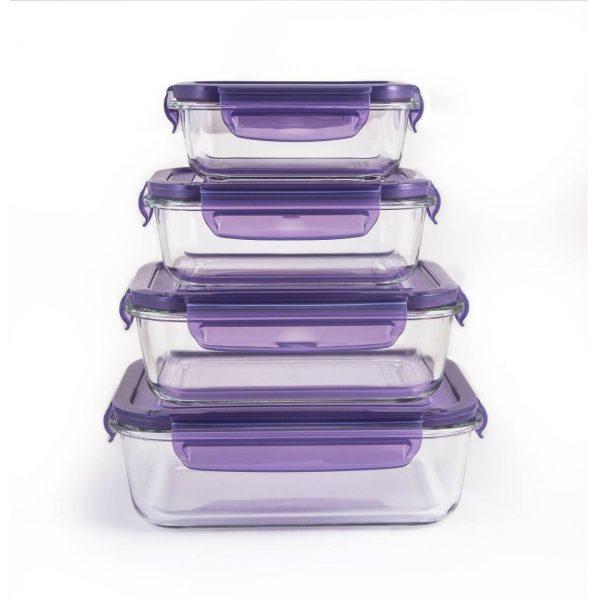 ست 8 پارچه ظروف شیشه ای مستطیل فورته